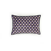 Elitis Gemmail CO 191 54 04 Amethyst printed velvet scallop pattern with black piping accent cushion cover.  Click for details and checkout >>