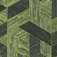 Elitis Formentera VP 717 13.  Shamrock green multicolored mid century textured wallpaper.  Click for details and checkout >>
