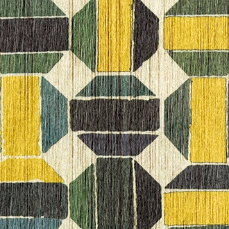 Elitis Pop RM 894 22.  Green and yellow circle geometric handcrafted wallpaper.  Click for details and checkout >>