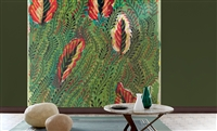 Elitis Flower Power TP 306 01.  Abstract green and red oversized print botanical leaf wallpaper panoramic mural.  Click for details and checkout >>