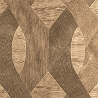 Elitis Nappees RM 435 72.  Walnut custom inlay geometric pattern real wood wallpaper.  Click for details and checkout >>