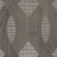Elitis Nappees RM 435 82.  Ash gray custom inlay geometric pattern real wood wallpaper.  Click for details and checkout >>