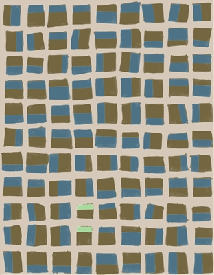 Elitis Initiation TP 312 01.  Blue and brown geometric abstract print wallpaper.  Click for details and checkout >>
