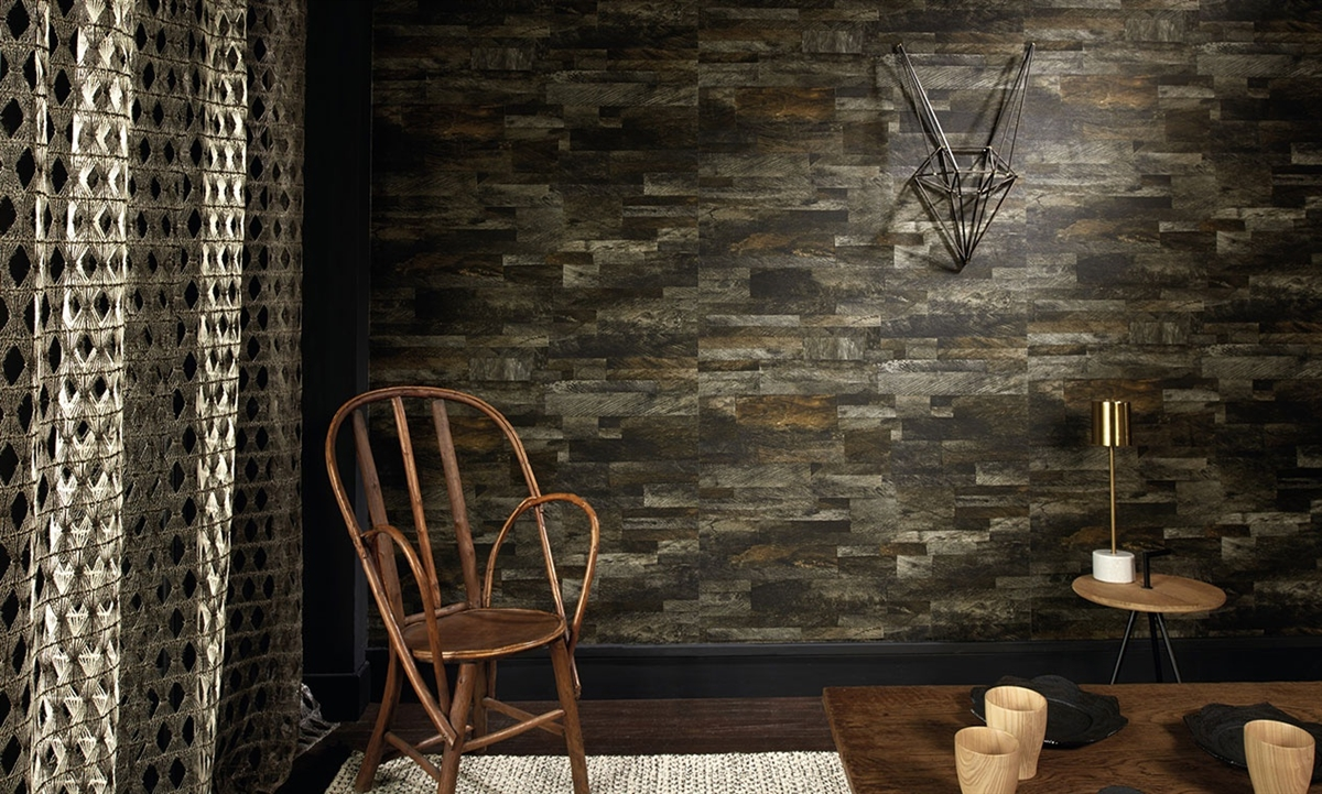 Elitis Pana Wallpaper Tarred Barn Wood Plank Vinyl