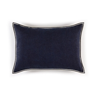 Elitis Philia CO 189 49 02  Bleu encre viscose linen sold color mid size accent pillow.  Click for details and checkout >>