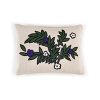 Elitis Riviera CO 187 53 02 Amethyst embroidered linen botanical accent throw pillow.  Click for details and checkout >>