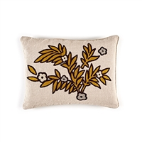 Elitis Riviera CO 187 26 02 Gold linen whimsical botanical accent throw pillow.  Click for details and checkout >>