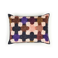 Elitis Saint Paul 192 53 02 printed amethyst velvet cross pattern with black piping accent pillow cover.  Click for details and checkout >>