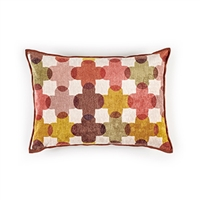 Elitis Saint Paul 192 57 02 printed corail velvet cross pattern with black piping accent pillow cover.  Click for details and checkout >>