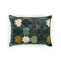 Elitis Saint Paul 192 68 02 printed obsidian velvet cross pattern with black piping accent pillow cover.  Click for details and checkout >>