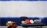 Blue and white horizontal stripe wall panoramic.  Click for details and checkout >>