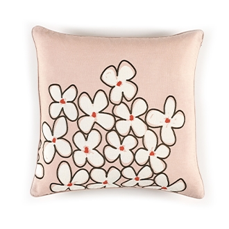 Elitis Sophia CO 188 57 01 Sweet Pink viscose & linen whimsical floral accent throw pillow.  Click for details and checkout >>
