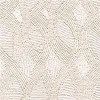 Elitis Perles VP 912 01.  Cream lace embossed vinyl beaded wallpaper. Click for details and checkout >>