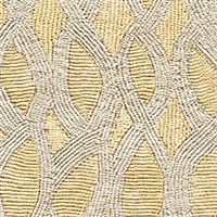 Elitis Perles VP 912 03.  Yellow lace embossed vinyl beaded wallpaper. Click for details and checkout >>