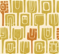 Elitis Initiation TP 310 05.  Yellow and Orange retro tribal print wallpaper.  Click for details and checkout >>