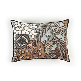 Elitis Vence CO 190 16 02 printed velvet  multi color with black piping throw pillow.  Click for details and checkout >>