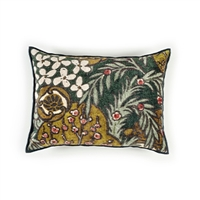 Elitis Vence CO 190 68 02 printed velvet forest green multi color with black piping throw pillow.  Click for details and checkout >>