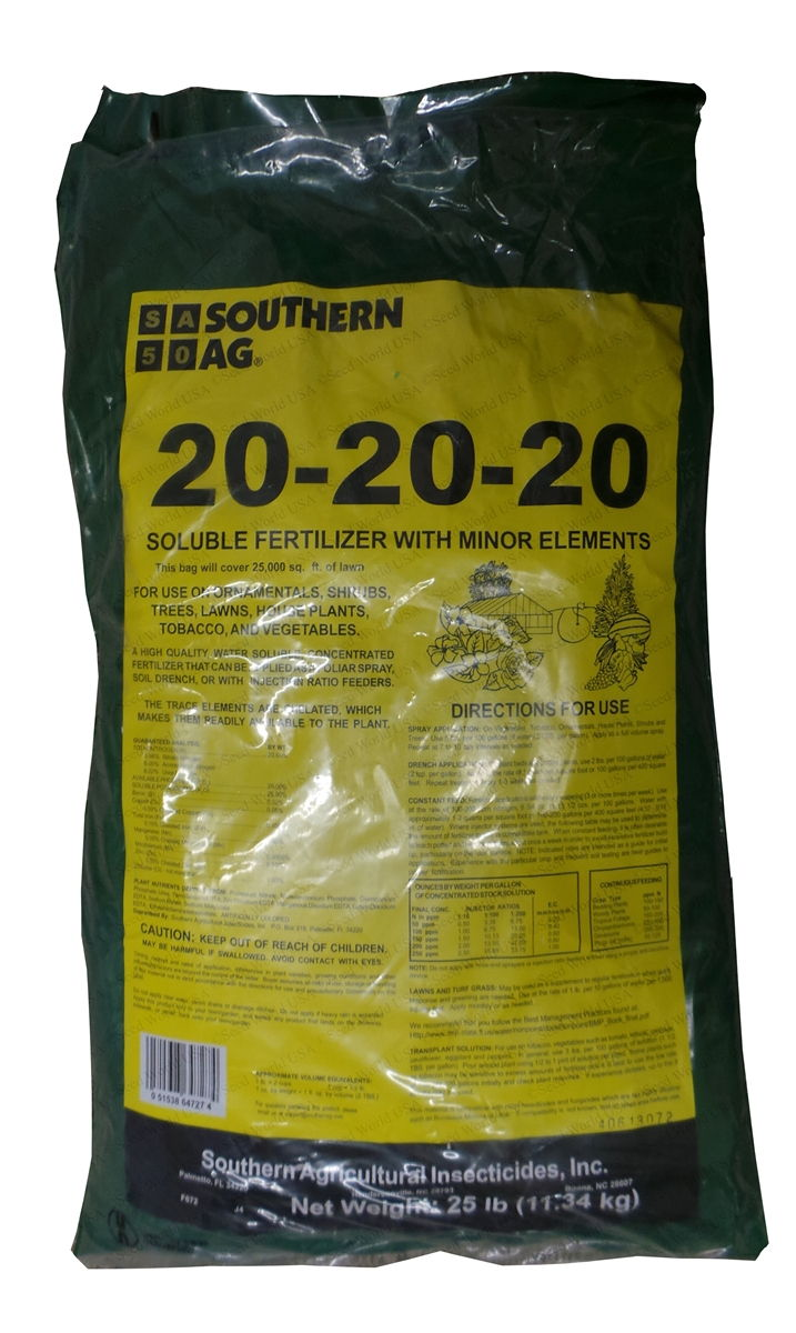 Southern Ag 20 20 20 Soluble Fertilizer 25 Lbs