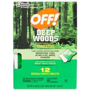Off! Deep Woods Insect Repellent Towelettes - 12 Count