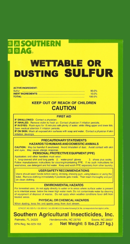 Wettable or Dusting Sulfur Powder - 5 Lbs