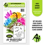 SPRING BASKET WATERCOLOR SET, 4PC FOAM MOUNTED CLINGS BY ART IMPRESSIONS