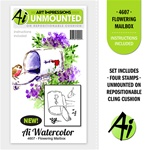 FLOWERING MAILBOX WATERCOLOR SET, 4PC FOAM MOUNTED CLINGS BY ART IMPRESSIONS