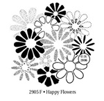 Happy Flowers Wood Mounted Stamp by Judikins