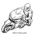 Motorcyclist Wood Mounted Stamp by Judikins