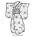 Dancing Kimono Wood Mounted Stamp by Judikins