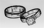WEDDING RINGS - FOAM MOUNTED CLING A4087 BY IO
