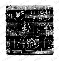 REVERSE SHEET MUSIC, BACKGROUND STAMP E4110 FOAM MOUNTED CLING BY IO