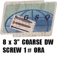 "3CDWS1 8 X 3"" COARSE DW SCREW 1# ORA"
