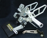 05-0640BA - SILVER Ducati 848/1098/1198, 848 Evo (Std Shift Only) Rearset Kit W/Pedals
