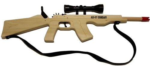 ak 47 combat rifle with scope and sling