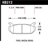 Hawk HP-Plus Rear Street/Track Compound Brake Pads