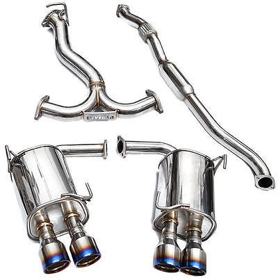 Invidia Q300 Twin Outlet Rolled Titanium Burnt Quad Tip Cat-Back Exhaust WRX 2015-2017