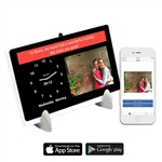 dayclock digital message tablet for seniors, Alzheimer's, dementia and for those living alone or with a caregiver. Send messages from your Smartphone straight to the tablet