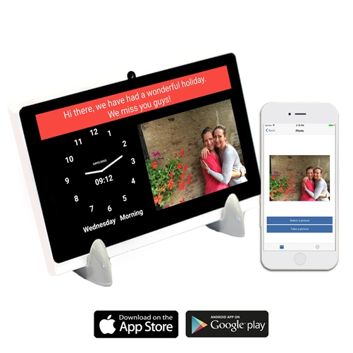 Best Digital Reminder Tablet with Day and Date for Seniors - sending messages from caregiver smartphone