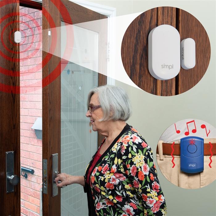 Simple Door Alarm Sensor W Portable Alarm Alert Alzheimer S Dementia And Elderly Door Alarm Kit Motion Sensor Option Alert Call Button Expandable Alzstore