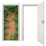 firerated door mural bricks and vine