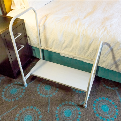 Step2Bed Bed Hand Rail Adjustable Height Bed Step Stool with LED Light Helps Get in and Out of Bed Portable Bedroom Fall Prevention