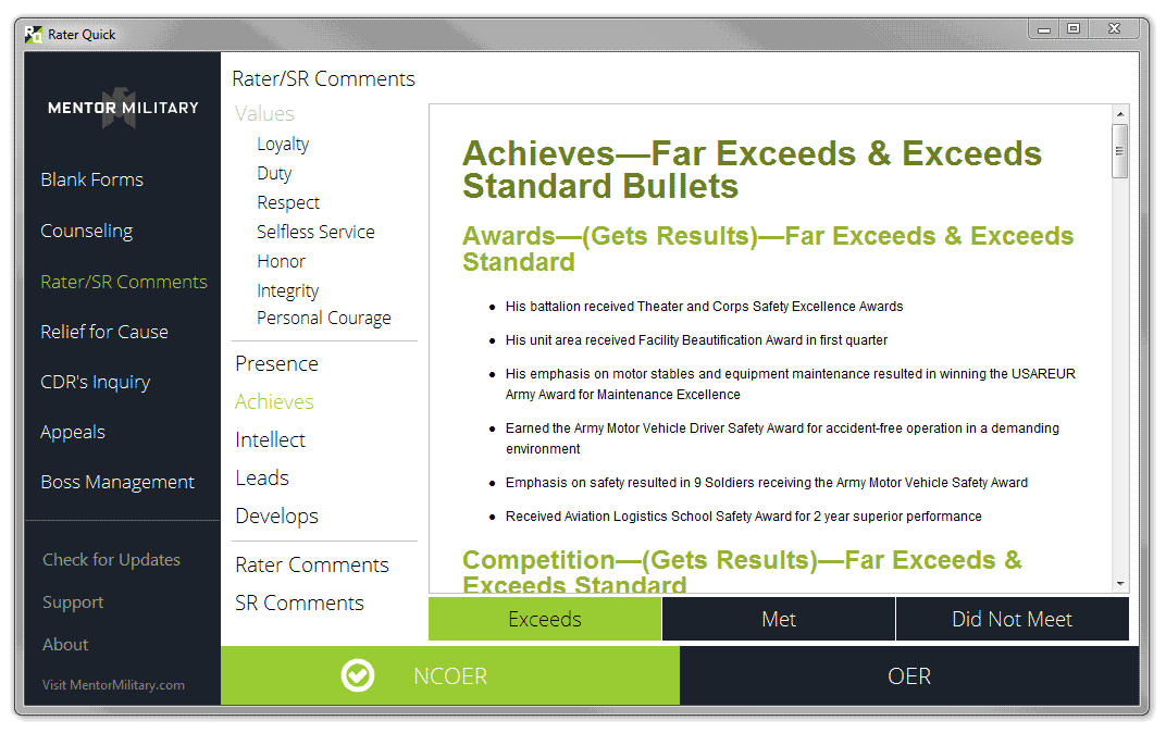 Rater Quick - NCOER & OER Evaluation on u.s. army mental evaluation example, warrant officer oer example, new army oer example, da 67 9 1a example, oer support form oct 2011, relief for cause ncoer example, army letter of recommendation example, field-grade oer example, oer support form lotus, oer support form word document, elevation plan example,