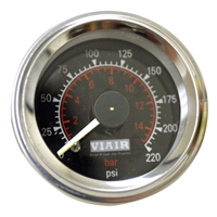 Black Faced, 220 PSI Dual Needle Air Gauge 90080