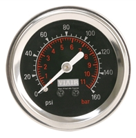 Viair Black Faced, 160 PSI Single Needle Air Gauge 90088