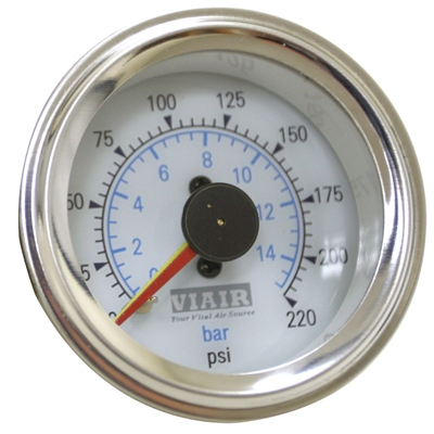 Viair White Faced, 220 PSI Dual Needle Air Gauge 90081