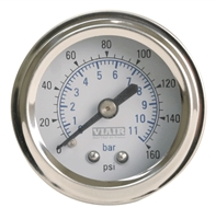 Viair White Faced, 160 PSI Single Needle Air Gauge 90087