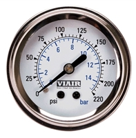 Viair White Faced, 220 PSI Single Needle Air Gauge 90089