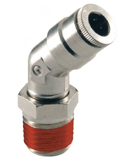 "3/8"" Hose 1/4"" NPT 45* Fitting Nickel Plated"