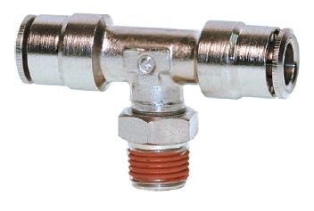 "1/2"" Hose 3/8"" NPT Branch Tee Nickel Plated"