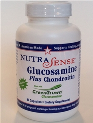 NutraSense Glucosamine Plus Chondroitin with GreenGrown 90 capsules per bottle for Healthy Joint Support